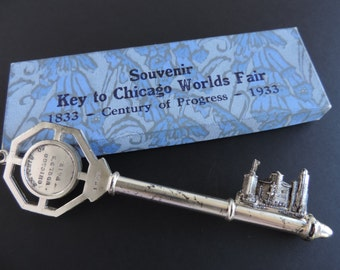 Chicago World's Fair Key | 1933 Century of Progress | Collectible Souvenir Paperweight | Original Box