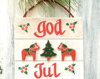 Sweden Christmas, Dala Horse, Swedish Christmas Decorations, God Jul Sign, Scandinavian Decor, Nordic Christmas, HAND PAINTED