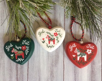 4 Swedish Ornaments, Scandinavian Christmas, Dala Horse Ornament, Swedish Decor, Swedish Christmas Decoration, God Jul, Hand Painted