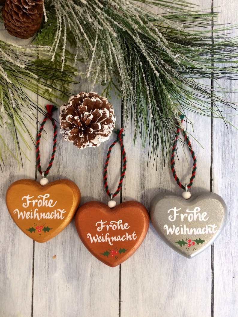 Set Of 3 German Christmas Ornaments German Christmas Frohe Weihnacht Ornament Geman Decor German Gifts German Christmas Decoration