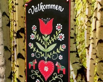 Valkommen Sign, Swedish Valkommen, Scandinavian Decor, Norwegian Welcome, Swedish Door Sign, Swedish Gifts, Swedish Sign, Hand Painted