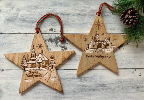 German Christmas Decorations.German Christmas Ornaments Set Of 2 Rothenburg Ob Der Tauber German Gifts