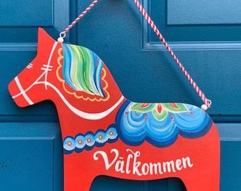 Dala Horse Sign, Stall Sign, Swedish Welcome, Swedish Gifts, Scandinavian Decor, Swedish Sign, Valkommen Sign, Hand Painted, Dala Sign
