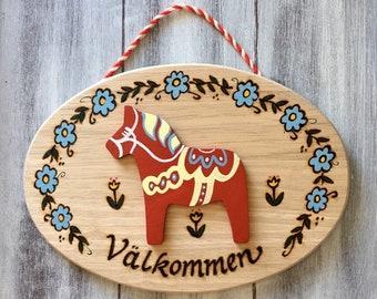 Swedish Welcome Sign, Dala Horse, Swedish Kitchen Sign, Swedish Gifts, Scandinavian Decor, Swedish Decor, Valkommen Sign