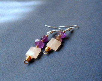 Amethysts and quartz earrings