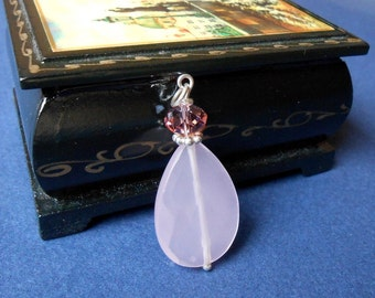Rose  quartz and swaroski crystal pendant