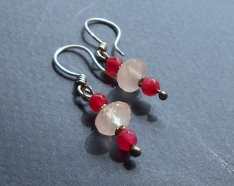 Quartz earrings rose quartz and fuchsia stone beads