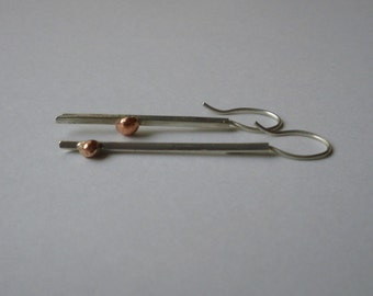 Short and Long earrings silver and copper handmade