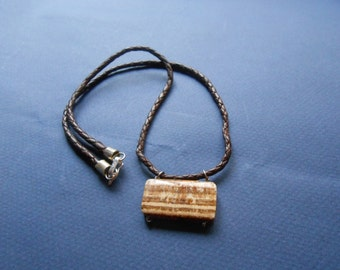Leather and Aragonite necklace for men
