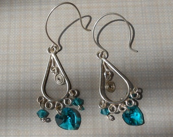 Valentine Chandelier earrings with swaroski heart and beads crystal silver and teal
