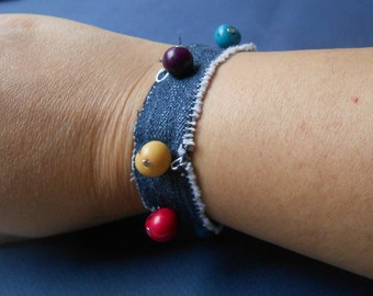 Recycled jeans and tagua beads bracelet