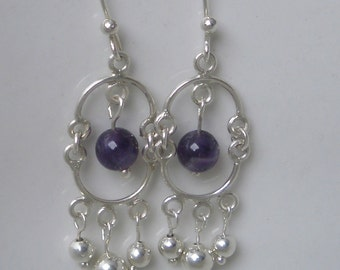 Amethyst and Silver dangle earrings