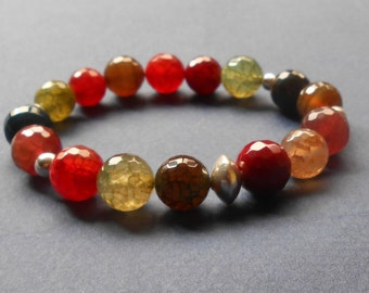 Colorful agates and silver beads bracelet