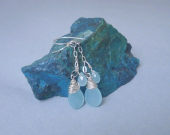 Chalcedony Tears and silver chain