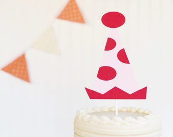 Birthday Hat Girl Pink And Red Smash Cake Topper First Baby Shower New