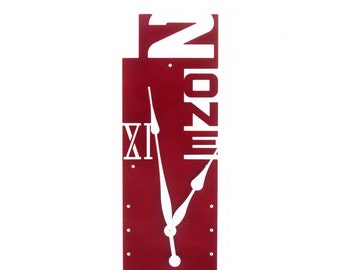 Outnumbered VII, Extra Large Wall Clock, Colorful, Metal, Giant, Big, Tall, Roman Numeral, Original, Painted Art, Family, Rectangular, Wine