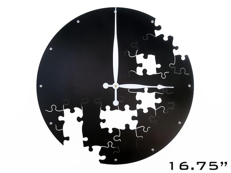 Black Wall Clock / Large Metal Art Oversize Home Decor / Ebony image 0