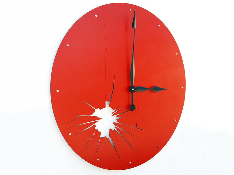 Extra Large Clock / Red Metal Wall Art Oversize Home Decor / Apple Ruby Rose Berry Ketchup Color / Hot Summer Warm Heat / Silent Shattered