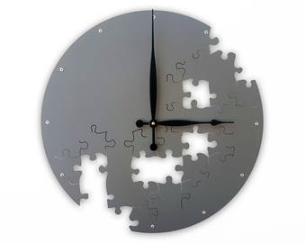 Puzzle V, Large Wall Clock, Oversized, Laser Cut Metal, Ticking Mechanism, Steampunk, Custom, Personalized, Nursery, Round, Giant, Dark Gray