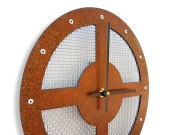 Mesh II, Medium, Rustic Wall Clock, Unique Wall Clock, Modern Wall Clock, Steampunk Home Decor, Industrial Metal Art, Laser Cut, Cool Gift