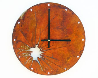 Shattered Metal, Medium, Rustic Wall Clock, Laser Cut, Distressed, Steampunk Decoration, Unique, Tell the Time, Natural, Broken Glass, Round