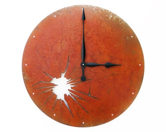 Shattered Metal, Extra Large Wall Clock, Rustic, Farmhouse, Distressed, Giant, Huge, Large Metal Circle, Steampunk Parts, Broken Glass