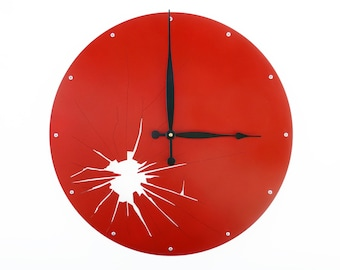 Shattered Metal, Large Wall Clock, Oversized, Glass, Silent, Giant, Personalized, Custom, Ticking, Feng Shui, Office, Round, Metal Art, Red