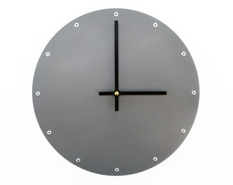 Circle, Medium, Minimalist Wall Clock, Personalized, Silent, Hanging, Steampunk Decoration, Custom, Tell the Time, Round, Plain, Dark Gray
