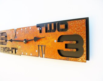 Outnumbered III, Large Wall Clock, Rustic, Distressed Metal, Big, Southwestern Decor, Feng Shui, Rectangle, Ticking, Natural Art, Office
