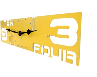 Outnumbered IV, Large Wall Clock, Metal, Giant, Family, Custom, With Numbers, Personalized, Rectangle, Non Ticking, Unusual, Quartz, Yellow