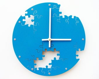 Puzzle IV, Medium, Colorful Wall Clock, Laser Cut, Family Room, Circle, Contemporary, Shabby Chic, Personalized, Ticking Quartz, Lagoon Blue
