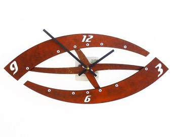 Sweep I, Medium, Rustic Wall Clock, Silent, Distressed, Geometric, Steampunk, Kitchen, Hanging, Non Ticking, Natural, Industrial, Original