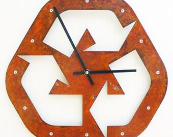 Recycled I, Medium, Rustic Wall Clock, Modern, Southwestern Decor, Ticking Parts, Feng Shui Design, Natural, Metal Art, Nursery, Industrial