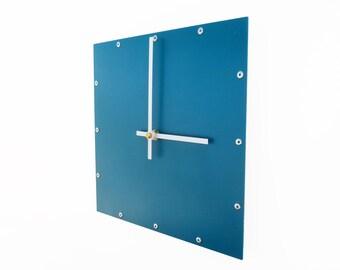 Square, Medium, Colorful Wall Clock, Minimalist, Custom, Shabby Chic, Classic, Feng Shui Metal Art, Non Ticking Clock Parts, Office, Blue