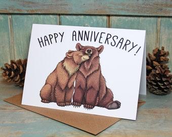 Bear Couple Illustration Happy Anniversary Card