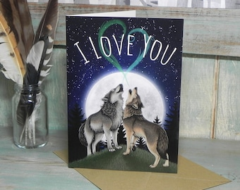 I Love You 'Wolf Song' Illustration Greeting Card - 280gsm Card 177 x 127mm Blank Inside with Brown Recycled Envelope