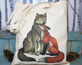 Wolf and Fox Eco Tote Bag ~ Organic & Fairtrade Cotton