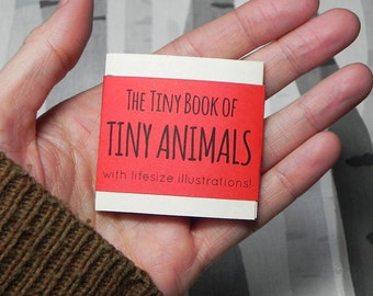 The Tiny Book of Tiny Animals - Mini Concertina Zine with Life-size Illustrations