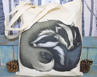 Badger Couple Eco Tote Bag ~ Organic & Fairtrade Cotton