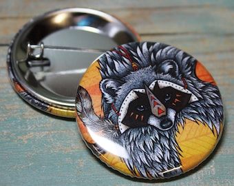 Raccoon Illustration Badge 38mm (x1)