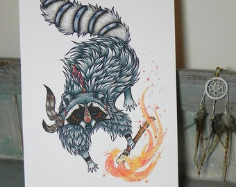 How Raccoon Got His Coat Illustration ~ Native American Folk Tale - A3 Print on 175gsm Card available in 2 Colours