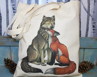 Wolf & Fox Illustration Eco Tote Bag ~ 100% Cotton Long Handles made in a Fairtrade Factory