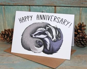 Badger Couple Illustration Happy Anniversary Card