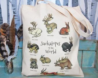 Jackalopes of the World Eco Tote Bag ~ Organic & Fairtrade Cotton