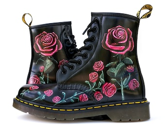 9ee896ce832 Custom Painted Rose Doc Martens Boots - Hand Painted Flowers Boots - Custom  Flower Doc Martens - Floral Doc Martens