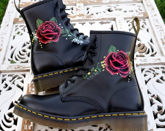 7a7396bf434 Custom Hand Painted Doc Martens - Floral Rose Boots - Flowers
