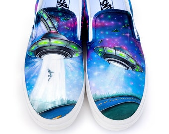 20980a6608c7b1 Custom Painted UFO Vans Shoes - Hand Painted UFO Alien Abduction - Alien  Galaxy Shoes