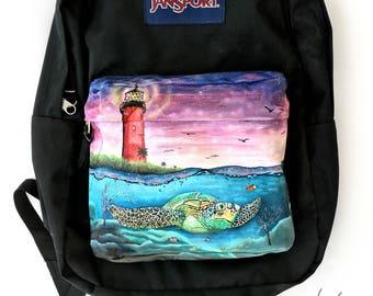 Custom Painted Sea Turtle JanSport Backpack - Hand Painted Sea Turtle Bag