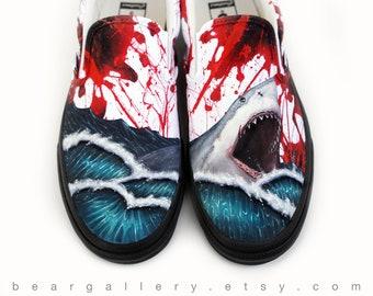 pretty nice d91fa ac1a3 Custom Painted Vans Shoes - Great White Shark Blood Spatter Hand Painted