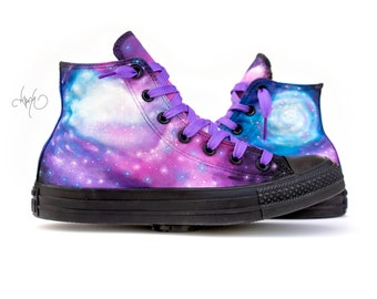 98b3f5b6ff7658 Custom Painted Galaxy Converse High Tops - Hand Painted Galaxy Shoes - Custom  Galaxy Shoes
